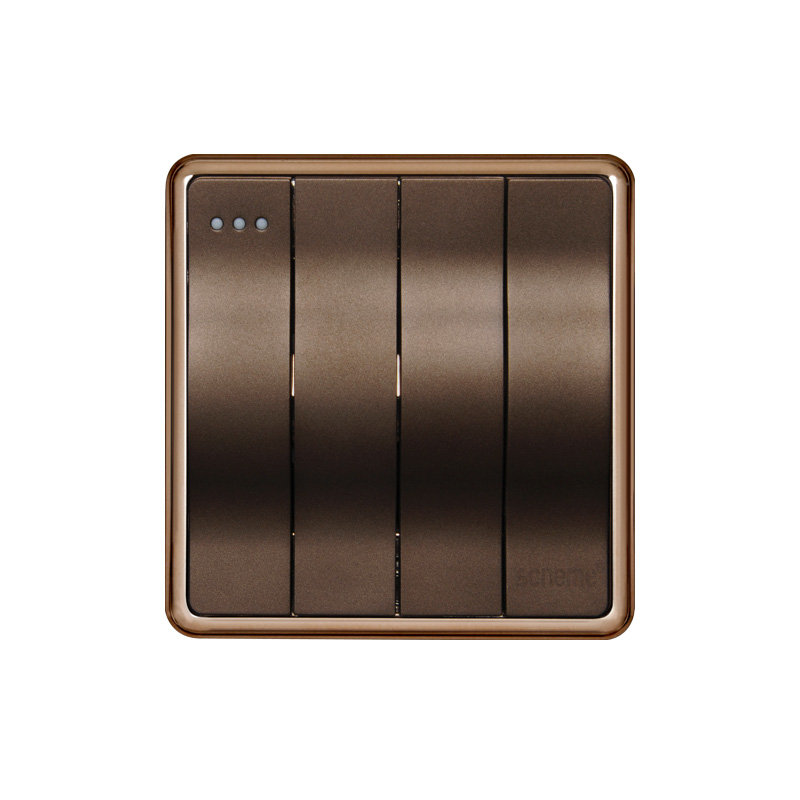 4 gang 1 way Dark Champagne Gold light switch, New Big push button Camber design lamp switch, 220V 16A wall switch kempinski wall switch 3 gang 1 way light switch champagne gold color special texture c31 sereis 110 250v popular