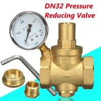40mm DN32 Brass Water Flow Pressure Reducing Valve With Adjustable Gauge + Wrench