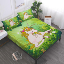 3/4Pcs Princess Unicorn Sheet Set Jungle Green Plant Leaves Print Bed Flat Deep Pocket Fitted Pillowcase D45