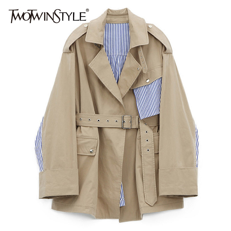 TWOTWINSTYLE Striped Windbreaker Female Patchwork Belt High Waist Oversize Long Trench Coats Women 2019 Fashion OL