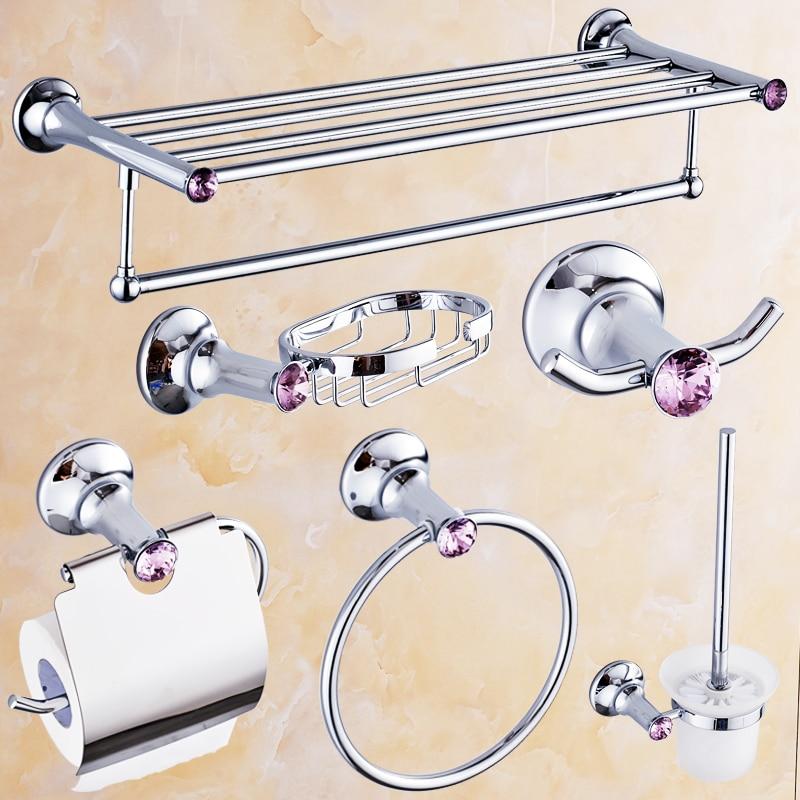 € 229.1 |Europe Chrome poli Violet diamant argent laiton salle de bain  accessoires Set porte serviettes/étagères de salle de bain/porte  savon/porte ...