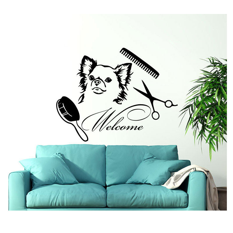 Dog Wall Vinyl Sticker Welcome Sign Grooming Salon Wall Decal Pet Shop Animals Wall Decor Interior Design Wall Art Mural RL06-in Wall Stickers from Home & Garden