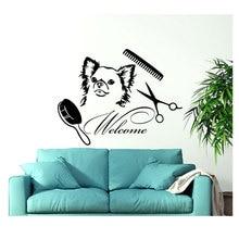 개 벽 비닐 스티커 환영 로그인 살롱 벽 데칼 애완 동물 숍 동물 벽 장식 인테리어 디자인 벽 아트 벽화 rl06