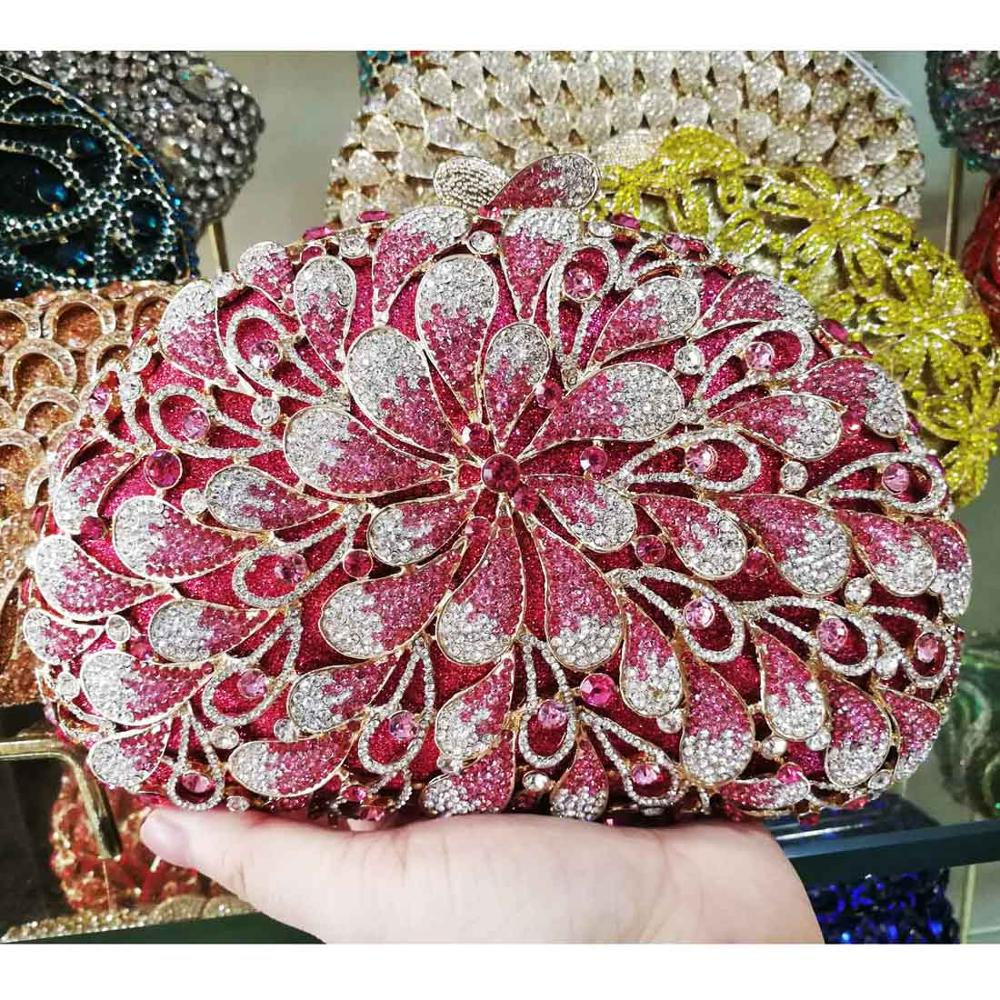 Boutique Luxury Evening Bags Pink Crystal Women Party Clutch bags Female sacoche Prom Purse Wristlets SC912