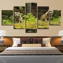 Living Room Home Decoration Poster Modular Pictures 5 set Prints Spray Painting Animal Wolf Modern Style HD Wall Artwork Canvas(China)
