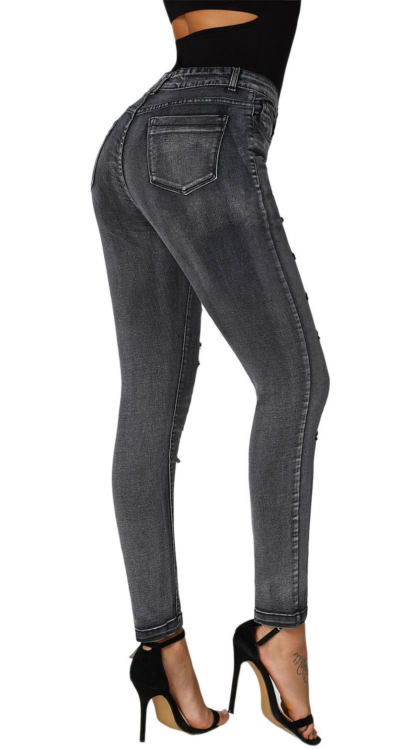 Black-Faded-Denim-Wash-Leg-Ripped-Skinny-Jeans-LC786018-2-2