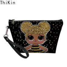 THIKIN Black Five Girls Doll Printing Makeup Bags Cute Girl Cosmetic Bag Travel Organizer Make Up Pouch Women Toiletry Bag
