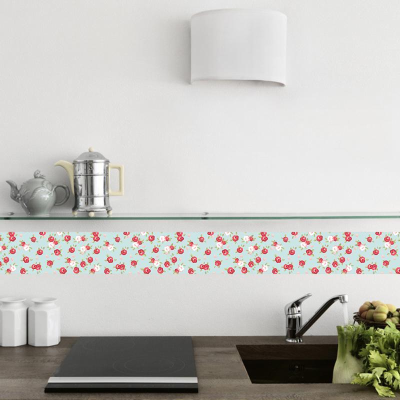 2M Waist Line Wall Sticker Kitchen Waist Line Adhesive Bathroom Toilet Waterproof Adhesive PVC Wallpaper Mosaic Tiles Stickers