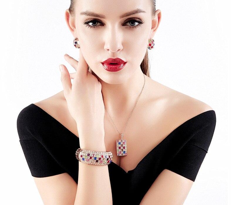 Incroyable couleur or Rose multicolore cubique zircone entièrement réglage de luxe reine série femme bracelet Bracelets en gros - 2