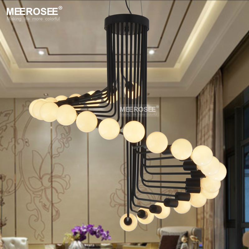 Long chandeliers staircase crystal spiral chandelier lighting flush modern loft industrial chandelier lights bar stair dining room lighting retro meerosee chandeliers lamps fixtures lustres aloadofball Image collections