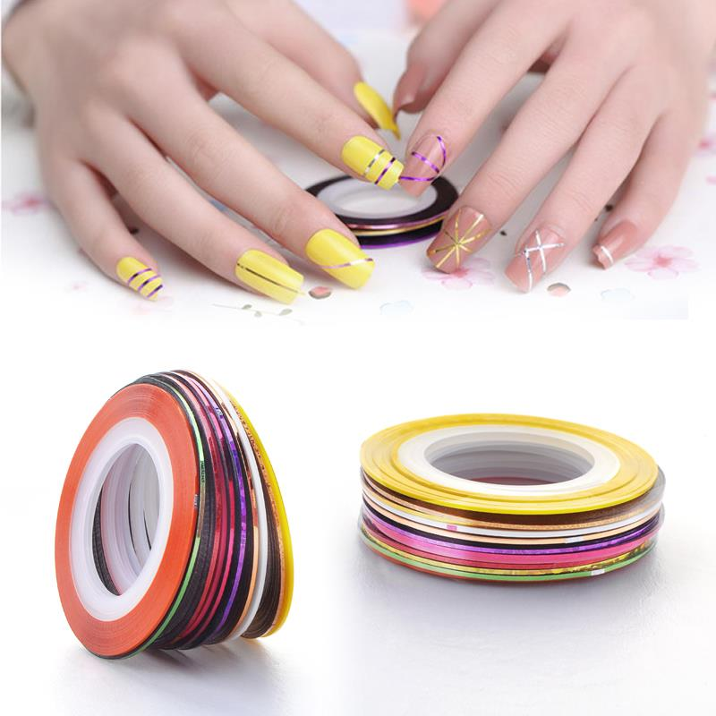 20pcs Sticker Tools Beauty Decorations for on Nail Stickers Mixed Colors Rolls Striping Tape Line DIY Nail Art Tips 14 rolls glitter scrub nail art striping tape line sticker tips diy mixed colors self adhesive decal tools manicure 1mm 2mm 3mm