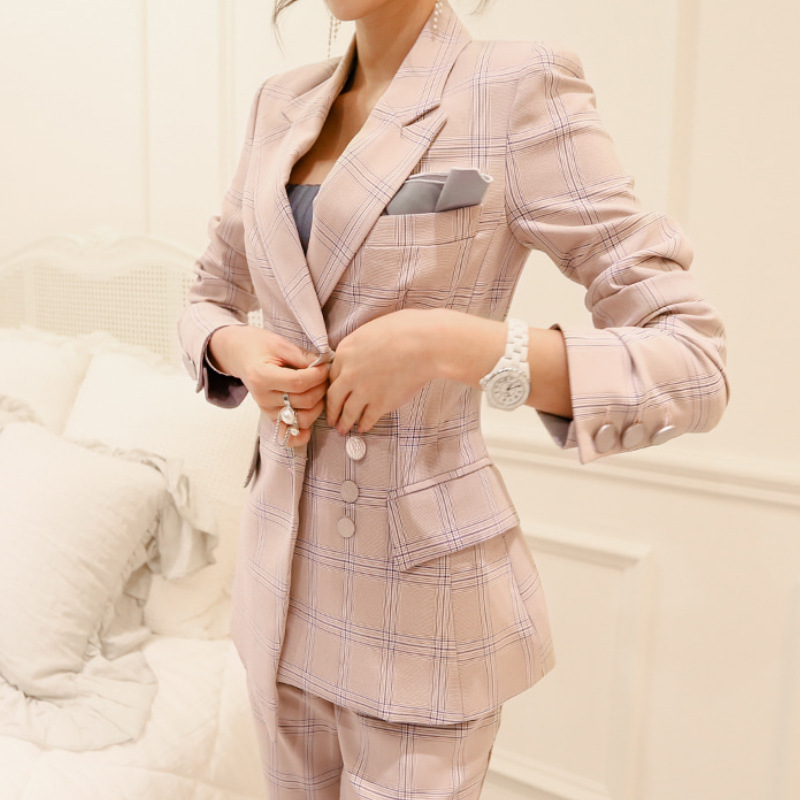 2 Piece Outfits For Women Office Workers Pants Plaid Suit Women Suit Spring New Fashion Retro Professional Suit Two-piece