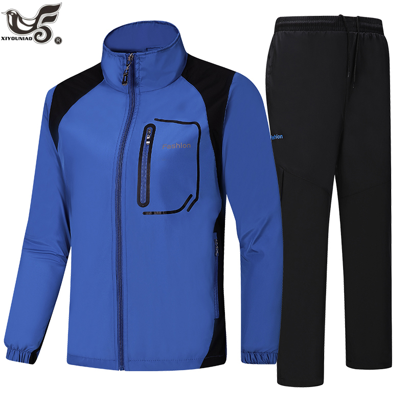 XIYOUNIAO new Spring Autumn Men Sportswear Set outwear training Sporting Suit Casual men`s Sweatshirt Tracksuit size L~5XL