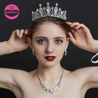 Свадебное платье невесты Star Для женщин девушки серебряный кристалл тиара Корона оголовье волос Группа головной убор