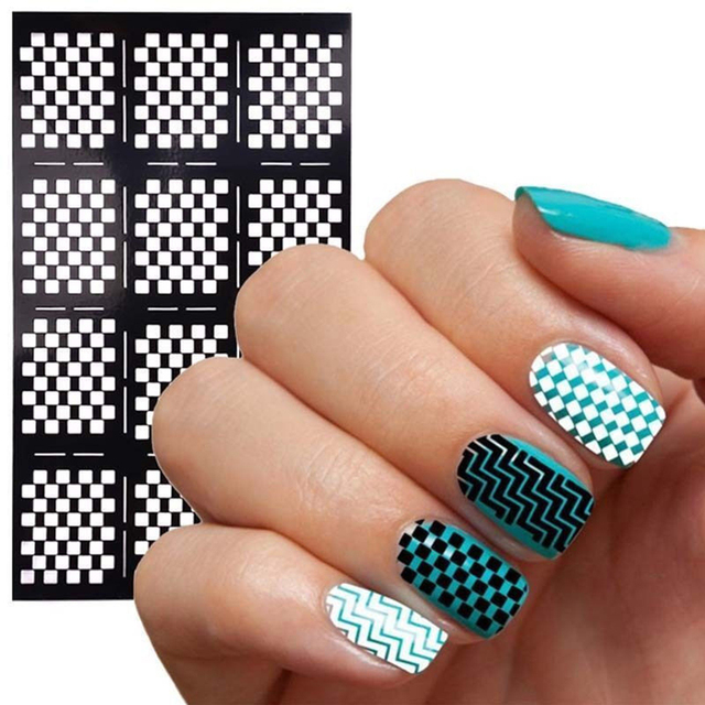 1 Sheet Fashion Women Nail Vinyls Art Manicure Stencil Stickers Stamp Template Decals DIY