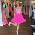 2016 Homecoming Dresses Rose A-line Above Knee Sleeveless Scoop Neck Chiffon with Applique 8th Grade Graduation Gowns Plus Size