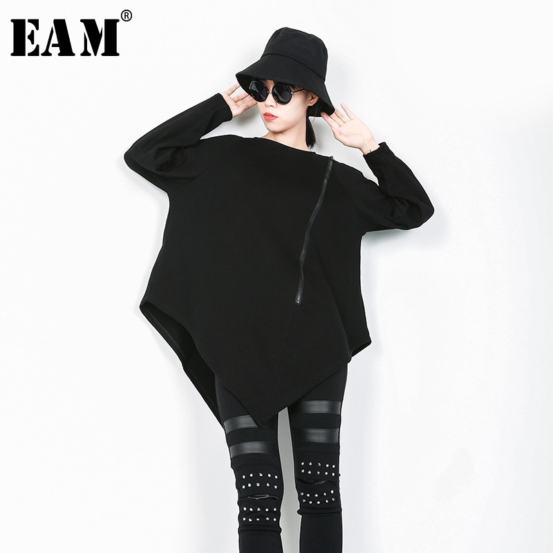 [EAM] 2018 New Autumn Winter Round Neck Long Sleeve Black Loose Large Size Irregular Hem Zipper T shirt Women Fashion JI496