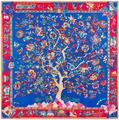 130x130cm European style 100% Silk Scarf Women Scarf life tree painting NeckerChief Bandana Large Square Office Lady Gift