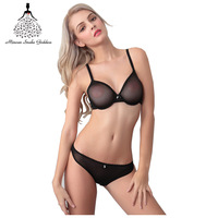 2017 Hot Sale Sexy Charming Women Lace Bra Set Ultra Thin Transparent Push Up Brassiere And