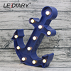 LEDIARY Cool Anchor Shape Night Light Dark Blue Pirate Sailor LED Lamp Marquee Sign For Room