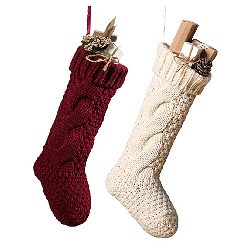 2019 Newest Christmas Stocking Knitted Gift Bag Decoration Stocking Tree Ornaments Fireplace Xmas Home Decoration New Year Decor