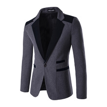 And males's trend coloration matching gentleman a grain of buckle western-style gown go well with coat
