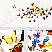 19pcs/set 3D Effect Cute Butterflies Wall Sticker DIY Beautiful Butterfly for Kids Room Decals Home Decoration On the