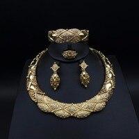 Moda Dubai Africano Contas Conjuntos de Jóias Nupcial Do Casamento das mulheres de ouro-cor exaggerate Colar ear cuff Brinco pulseira anel