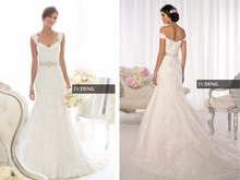 custom-made cap sleeve appliques lace casamento mermaid wedding dress 2015 hot sale vestido de noiva Bridal gown crystal sashes