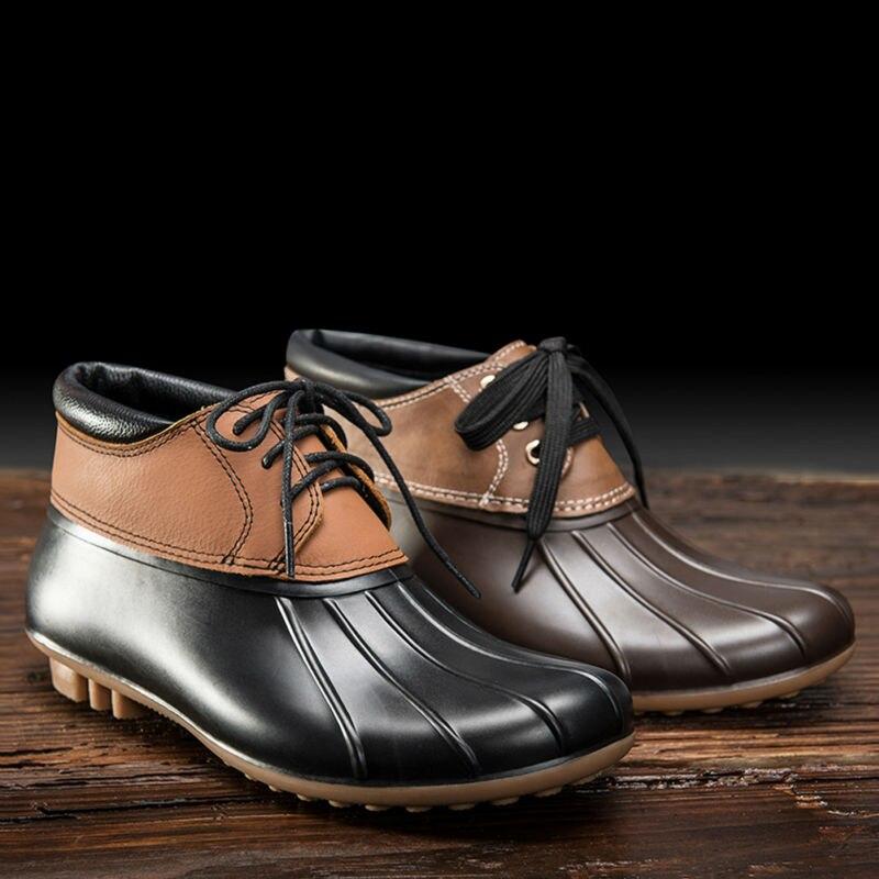 tongpu cecilia womenu0027s casual duck boots genuine leather waterproof ankle rain boots 9114china - Duck Rain Boots