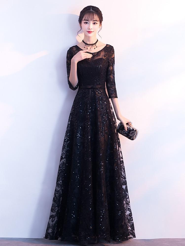 Evening Dresses Long Formal Elegant A-Line Plus Size Short Sleeve Lace Black Wedding Guest Dress Party Gown Vestidos ES1159