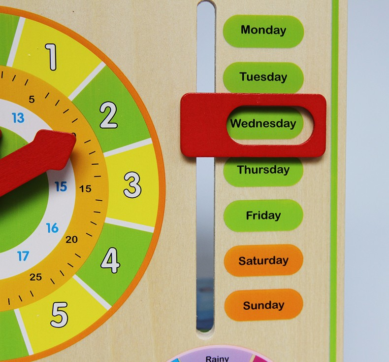 Calendar and Clock Wood Numbers Math Preschool Early Education week days
