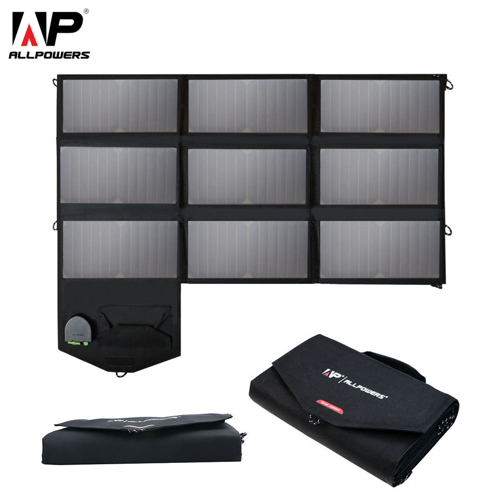 ALLPOWERS Portable 5V 12V 18V 60W USB Solar Cells Panel Power Bank Camping Folding Solar Charger for iPhone Mobile Phone Laptop allpowers 18v 80w usb dc solar panels sunpower solar panel charger waterproof foldable charger for laptop mobile phone battery