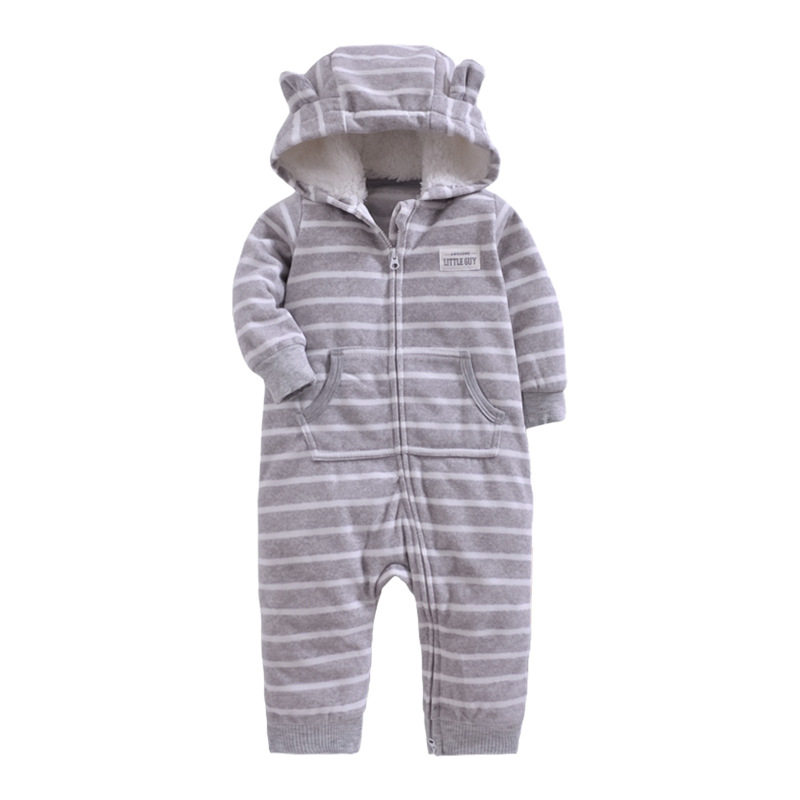 Newborn Baby Rompers Fleece Padded Thicken Warm Girls Clothing Set Autumn Cartoon Toddler Hooded Clothes Unisex Infant Jumpsuits in Rompers from Mother Kids