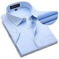 Плюс Большой Размер США XXXL 4XL 5XL 6XL Новый Летний 2016 с коротким Рукавом Twill Pure Color Бизнес Рубашки Платья Формальные Рубашки Работы мужчины