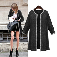 Woman Fashion Knitted Sweaters Cardigans Black Full Sleeve O Neck Spring Casual Long Sweaters 2018 New 5XL 4XL Cape Tops