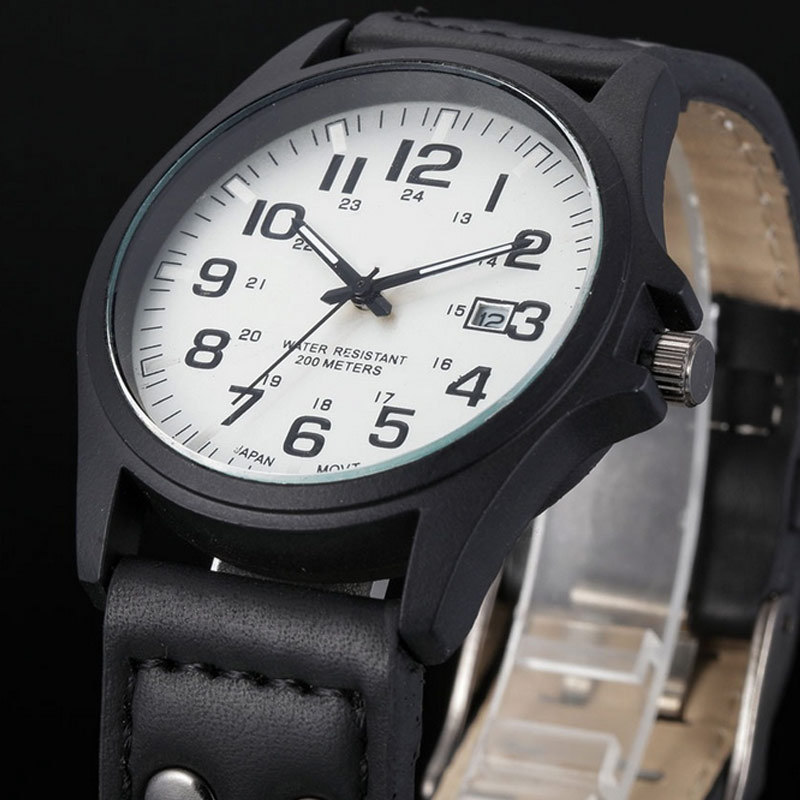 Luxury Men Military Quartz Watch Round Dial Casual Analog Watches Calendar Date Clock PU Leather Strap Wristwatch @17 TT