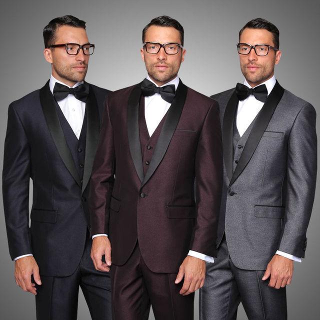 2017 New Gray Navy Blue Wedding Suits For Men S Groom Men Slim Fit