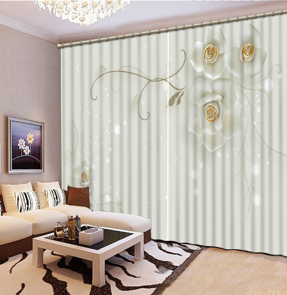 US $58.91 57% OFF|European Curtains 3D Stereoscopic flower Living room  Curtain beautiful Photo Printing Window Curtain Blackout-in Curtains from  Home ...
