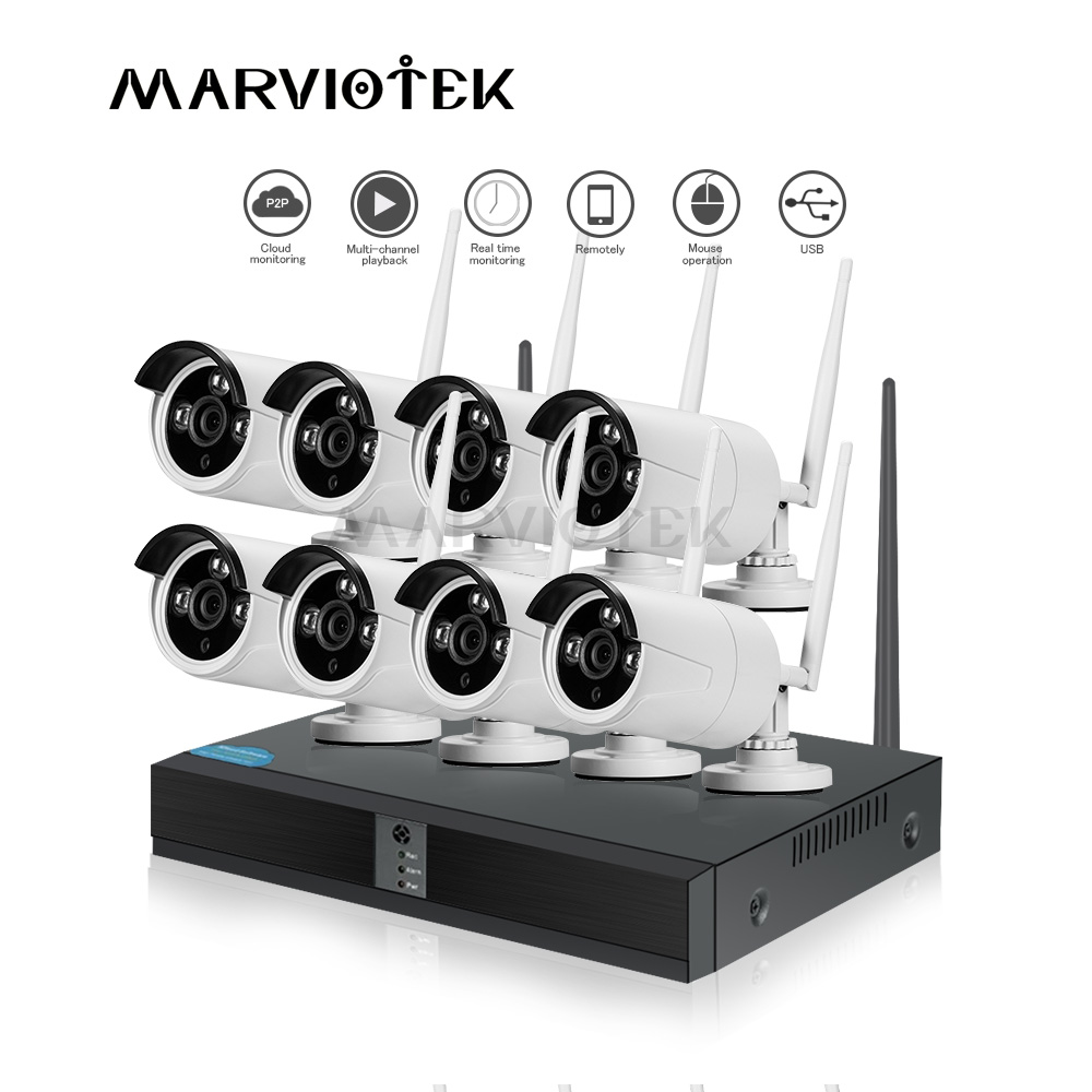 Wireless security camera system outdoor 8CH CCTV Camera System 1080P ip camera WiFi Vidio Surveillance Kit onvif wifi camera set-in Surveillance System from Security & Protection    1