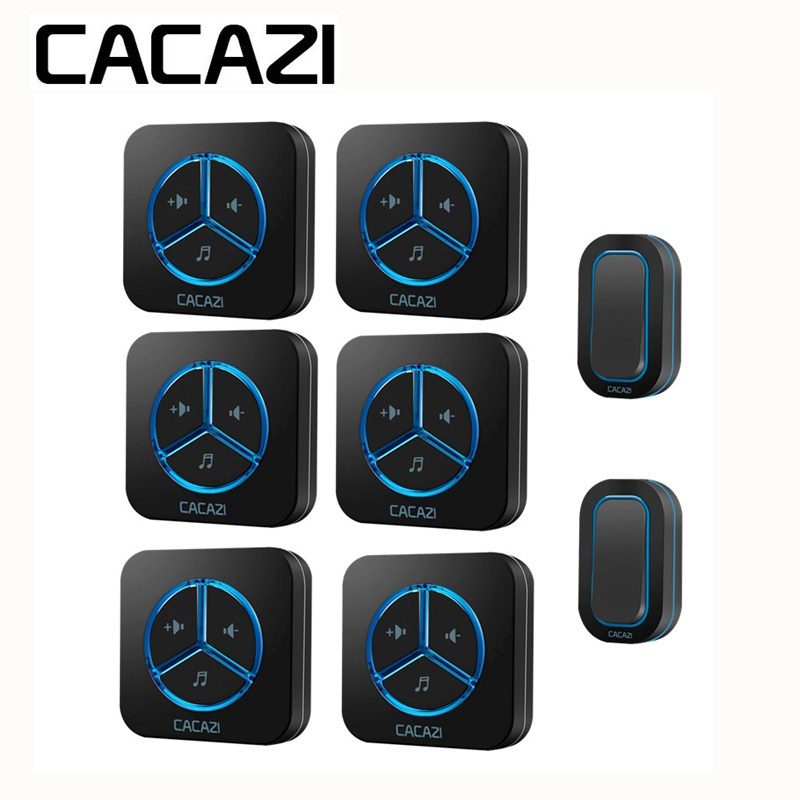 CACAZI Waterproof Wireless Battery Doorbell Smart Household Ring bell 48 Songs Call 12V23A 280M Remoto US EU UK AU Plug Receiver