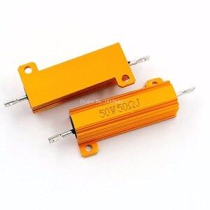 RX24 50W 50R 50RJ Metal Aluminum Case High Power Resistor Golden Metal Shell Case Heatsink Resistance Resistor 50 ohm 50w
