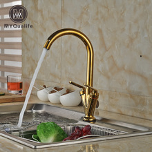 Роскошный золотой латуни Кухня смеситель коснитесь двойной ручкой Палуба Гора горячей и холодной воды коснитесь одно отверстие