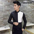 MAUCHELY 2017 New Spring Male Korean Hit Color Black And White Long Sleeved Shirt Lining Stitching Slim Personality Boys Shirts