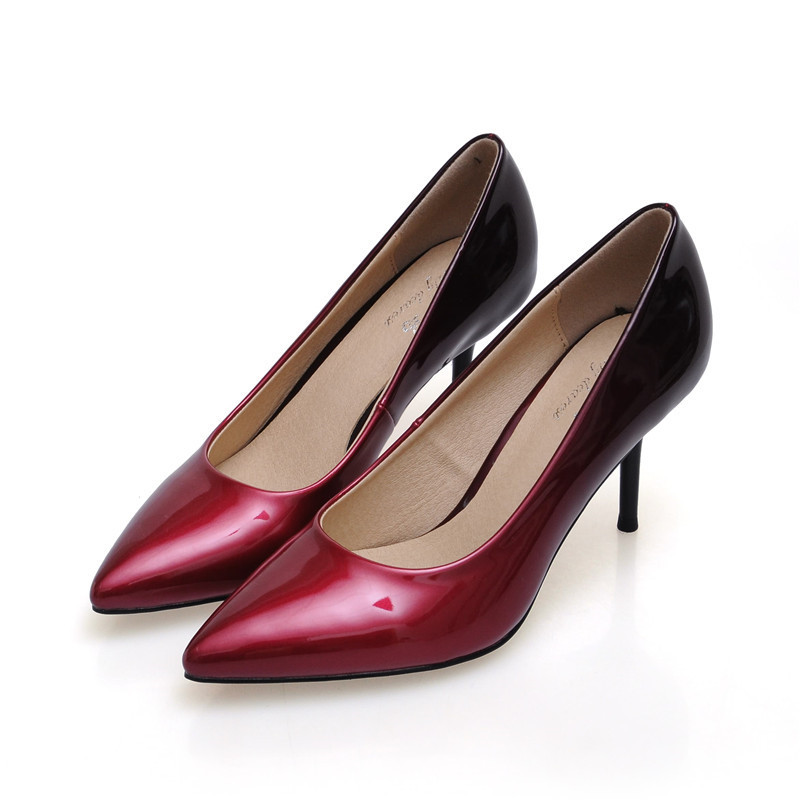 ФОТО 2017 Fashion Women High Heels Shoes Patent Leather Sexy Pointed Toe Thin Heels Wedding Party Shoes Women Pumps Plus Size 34-41