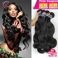 АААААААА Необработанные малайзии тела волновые пучки волос девы топ наращивание волос Natural color 4 связки лот