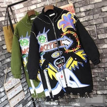 2016 new winter Thailand autumn tide brand cartoon personalized printing  coat female loose rivets cotton trench