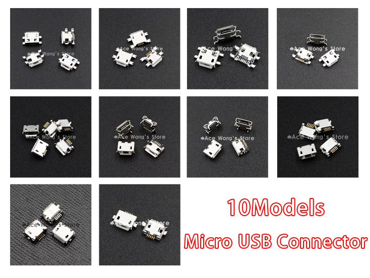 10Models,100pcs total Micro USB 5Pin jack tail sockect, Micro USB Connector port sockect for samsung Lenovo Huawei ZTE HTC ect 100pcs 10pcs each for 10 kind micro usb 5pin jack tail socket micro usb connector port sockect for samsung lenovo huawei zte htc