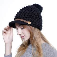 d1a30933a0f SUOGRY Women Winter Slouchy Knit-Hat Chunky Loose Beanie-Hat Wool Soft Warm Button  Ski Cap with Visor
