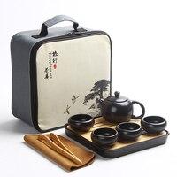 중국어 여행 쿵푸 차 세트 세라믹 휴대용 말차 세트 주전자 도자기 Teaset 가이완 차 컵 여행 가방과 차 주전자|티웨어 세트|   -